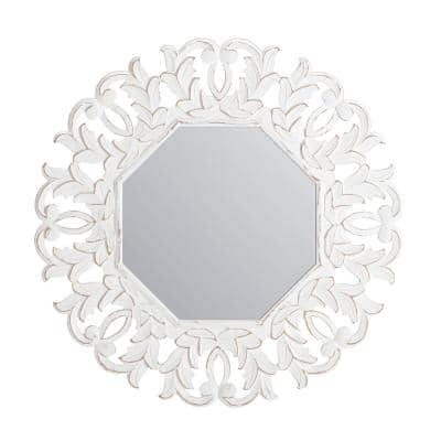30 in. x 30 in. Bohemian Octagon Framed Tull White Carved Accent Mirror