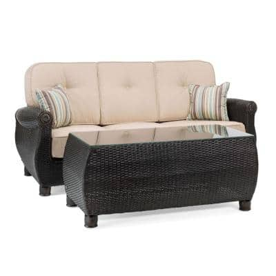 Breckenridge 2-Piece Wicker Outdoor Sofa and Coffee Table Set with Sunbrella Spectrum Sand Cushions