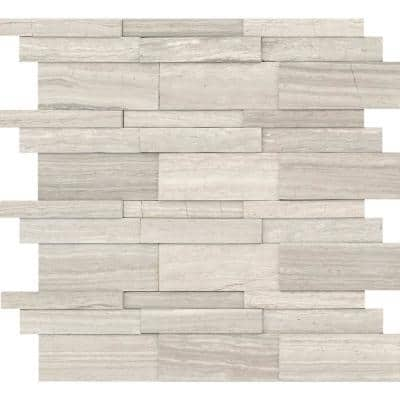Marble Cream Honed 12.01 in. x 12.05 in. x 12 mm Limestone Mesh-Mounted Mosaic Tile (1 sq. ft.)