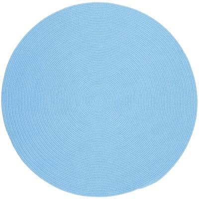 Joy Braids Solid Aqua Blue 8 ft. x 8 ft. Round Indoor/Outdoor Braided Area Rug
