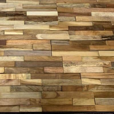 5/8 in. x 5-7/8 in. x 23-3/4 in. Reclaimed Multi-Dimensional Hardwood Decorative Wall Panel (6-Pack)