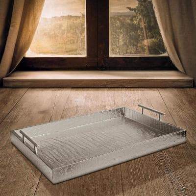 19 in. x 3 in. x 14 in. Alligator Silver MDF Rectangle Serving Tray with Handles
