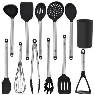 Black Stainless Steel and Silicone Kitchen Utensils (Set of 12)