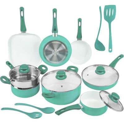 16-Piece Turquoise Non-Stick Ceramic Cookware Set with Lids