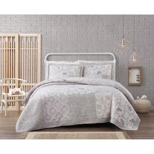 Brigette Floral Cotton 3-Piece Grey Full/Queen Quilt Set