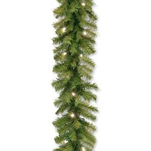 Norwood Fir 9 ft. Garland with Battery Operated Warm White LED Lights