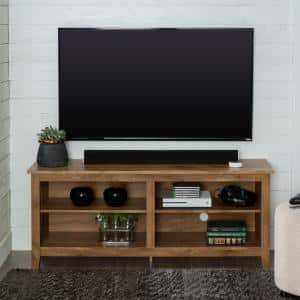 Columbus 58 in. Barnwood MDF TV Stand 60 in. with Adjustable Shelves