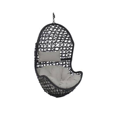 Cordelia Resin Wicker Indoor/Outdoor Hanging Egg Patio Lounge Chair with Gray Cushions
