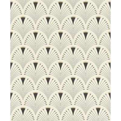 Ruhlmann Cream Fan Paper Strippable Roll (Covers 56.4 sq. ft.)