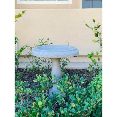 Lightweight Concrete Arabesque Fancy Scroll Natural Concrete Color Birdbath