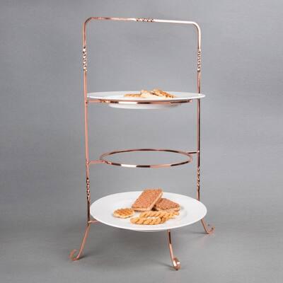 3-Tier Copper Plated Dinner Plate Rack, Party Food Server, Serving Rack, Fruit Presentation, Party Food Server Display