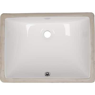 Rectangle Undermount Porcelain Ceramic Bathroom Sink in White