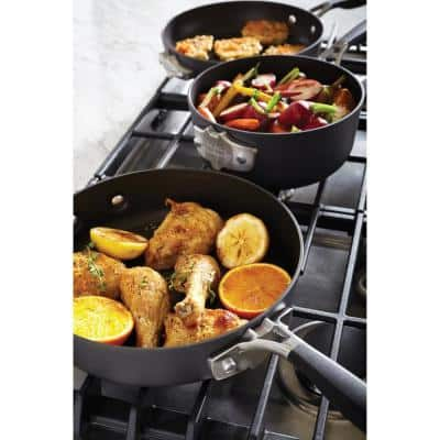 Select Space Saving 9-Piece Hard-Anodized Aluminum Nonstick Cookware Set in Black