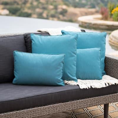 Benjamin Teal Lumbar and Square Outdoor Throw Pillow (4-Pack)