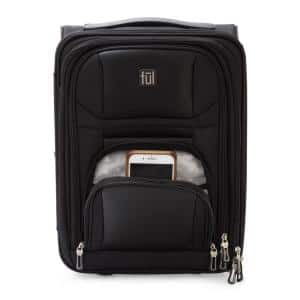 Crosby Carry-On Luggage 16.5 in. Black Narrow Profile for Underseat Storage Faux-Leather