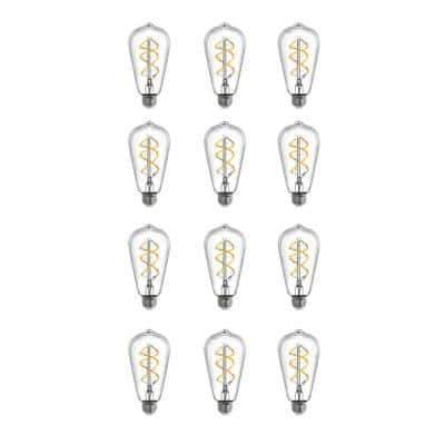 40W Equivalent ST19 Dimmable LED Clear Glass Vintage Edison Light Bulb With Spiral Filament Warm White (12-Pack)
