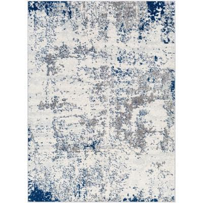 Yamikani Navy 7 ft. 10 in. x 10 ft. 3 in. Abstract Distressed Area Rug