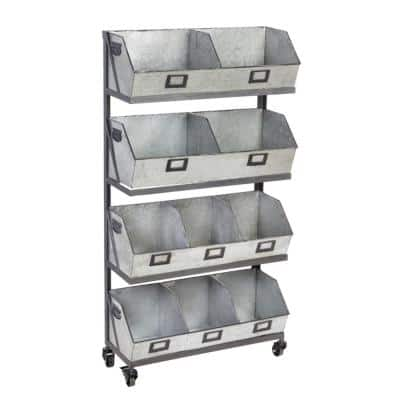 51 in. Metallic Metal 10-shelf Accent Bookcase with Open Back