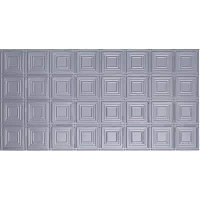 Dimensions Faux 2 ft. x 4 ft. Tin Style Ceiling and Wall Tiles in Nickel