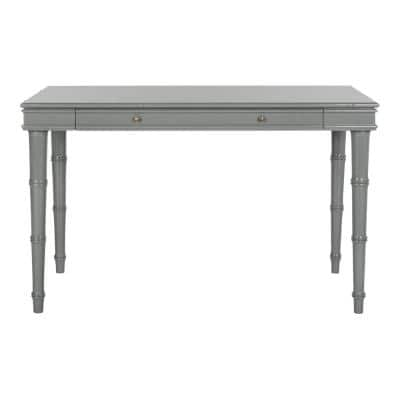 47 in. Rectangular Gray 1 Drawer Writing Desk with Built-In Storage