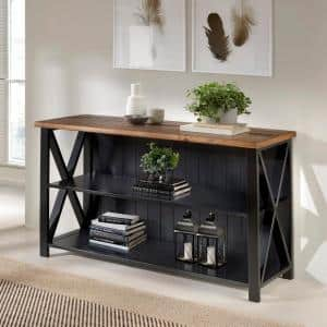 30 in. Black/Reclaimed Barn Wood 2-shelf Accent Bookcase