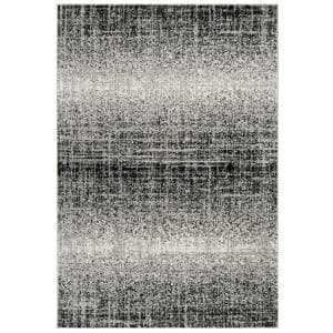 Adirondack Silver/Black 4 ft. x 6 ft. Solid Gradient Area Rug