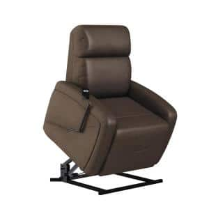 Modern Style in Chocolate Brown Suede-like Fabric with Padded Track Arms Power Recline and Lift Chair