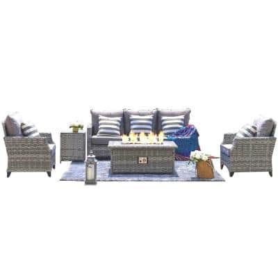 Gray 5-Piece Wicker Patio Fire Pit Seating Set with Gray Foam Cushions, Fire Pit Table