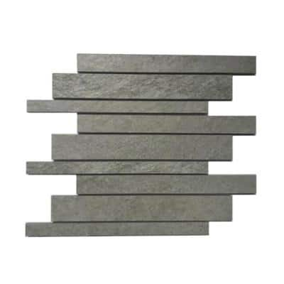 Alpe Graphite Gray 12 in. x 12 in. x 9mm Mesh-Mounted Porcelain Mosaic Floor and Wall Tile (0.97 sq. ft./Each)