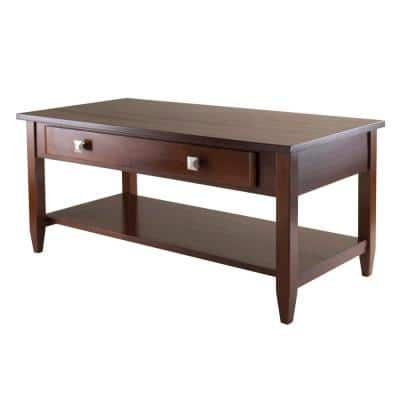 Richmond 40 in. Walnut Medium Rectangle Wood Coffee Table with Drawers
