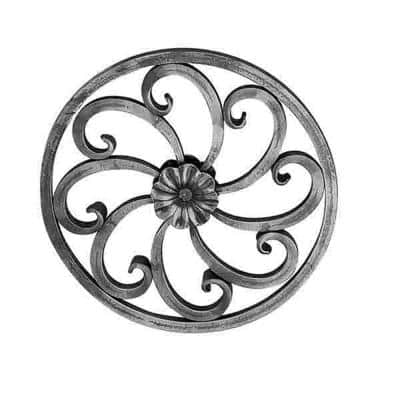 11-5/8 in. x 1/2 in. Wrought Iron Square Rosette Panel with Scrolls And Center Flower