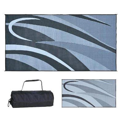 8 ft. x 12 ft. Graphic Black/Silver Reversible Mat