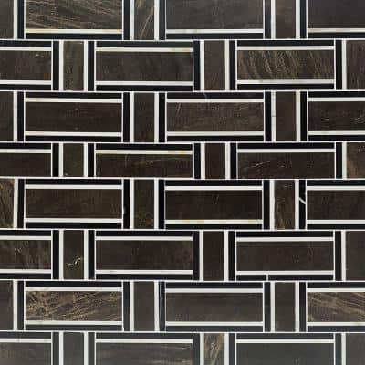 Mingle Chocolate Interlocking 12-7/8 in. x 12-3/4 in. Marble Mosaic Tile (1.14 sq. ft.)