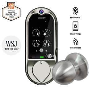 Vision Single Cylinder Smart Deadbolt Lock and Integrated Video Doorbell Satin Nickel with Knob Handle