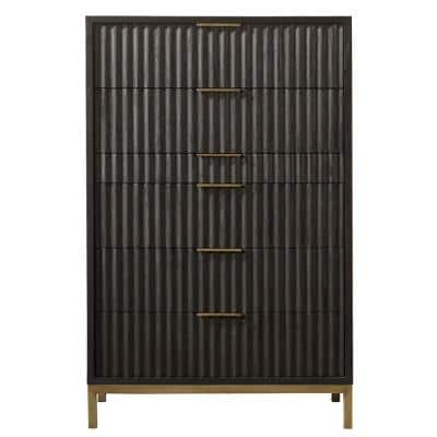 Kentfield 6-Drawer Black Drifted Oak Chest of Drawers 56 in. H x 36 in. W x 18 in. D