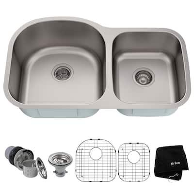 Premier Stainless Steel 35 in. 60/40 Double Bowl Undermount Kitchen Sink