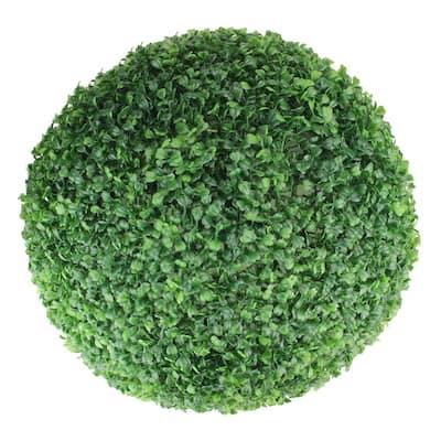19 in. Artificial 2-Tone Green Boxwood Topiary Garden Ball