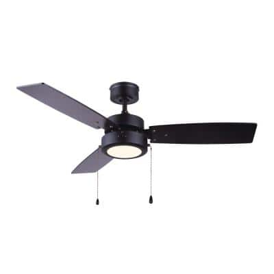 Wallis 42 in. Integrated LED Black Ceiling Fan with Light Kit