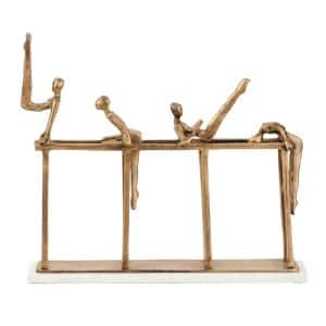 Modern 23 in. x 18 in. Metal Gymnastics Sculpture in Gold with Light Marble Rectangular Base,