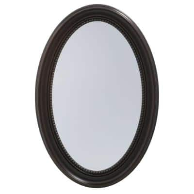 20 in. W x 30 in. H Recessed or Surface-Mount Oval Bathroom Medicine Cabinet with Deco Framed Door in Oil Rubbed Bronze