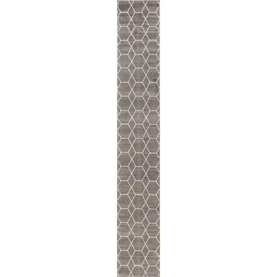 Trellis Frieze Dark Gray/Ivory 2 ft. x 13 ft. Geometric Runner Rug
