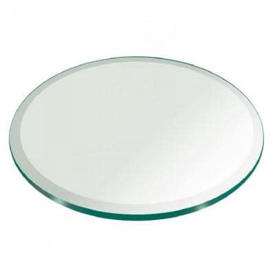 38 in. Clear Round Glass Table Top, 1/2 in. Thickness Tempered Beveled Edge Polished