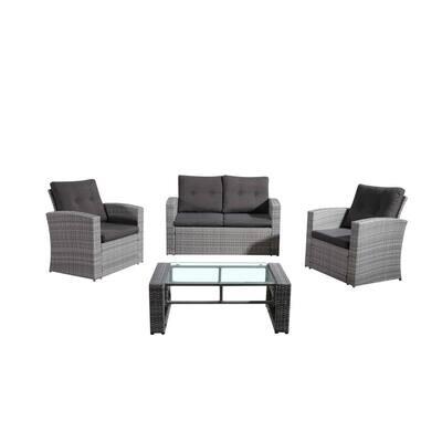 Lamone Light Gray 4-Piece All-Weather Wicker Patio Conversation Set with Dark Grey Cushions