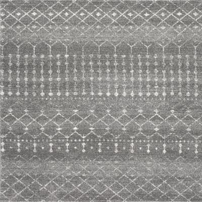 Blythe Modern Moroccan Trellis Dark Gray 5 ft. Square Rug