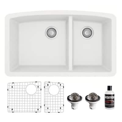 QU-711 Quartz/Granite 32 in. Double Bowl 60/40 Undermount Kitchen Sink in White with Bottom Grid and Strainer