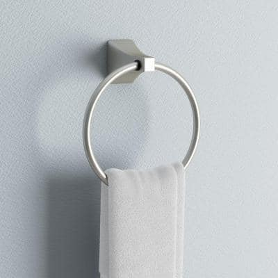 Shangri-La Towel Ring in Satin Nickel