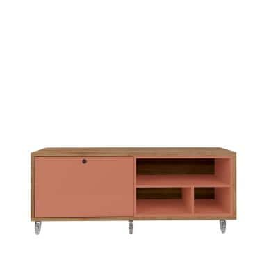 Hampton 53.62 in. Ceramic Pink and Nature Shoe Storage Bench with Silicone Casters