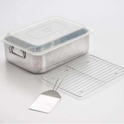 4-Piece All-in-one Stainless Steel Roaster and Lasagna Pan with Plastic Cover