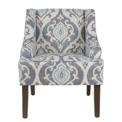 Global Damask Suri Blue Classic Swoop Accent Chair