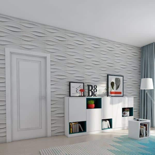 Art3d 19 7 In X 19 7 In White Pvc 3d Wall Panels For Interior Wall Decor 12 Sheet A10hd035 The Home Depot